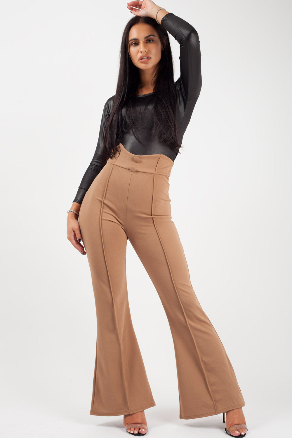 tan high waisted wide leg trousers womens