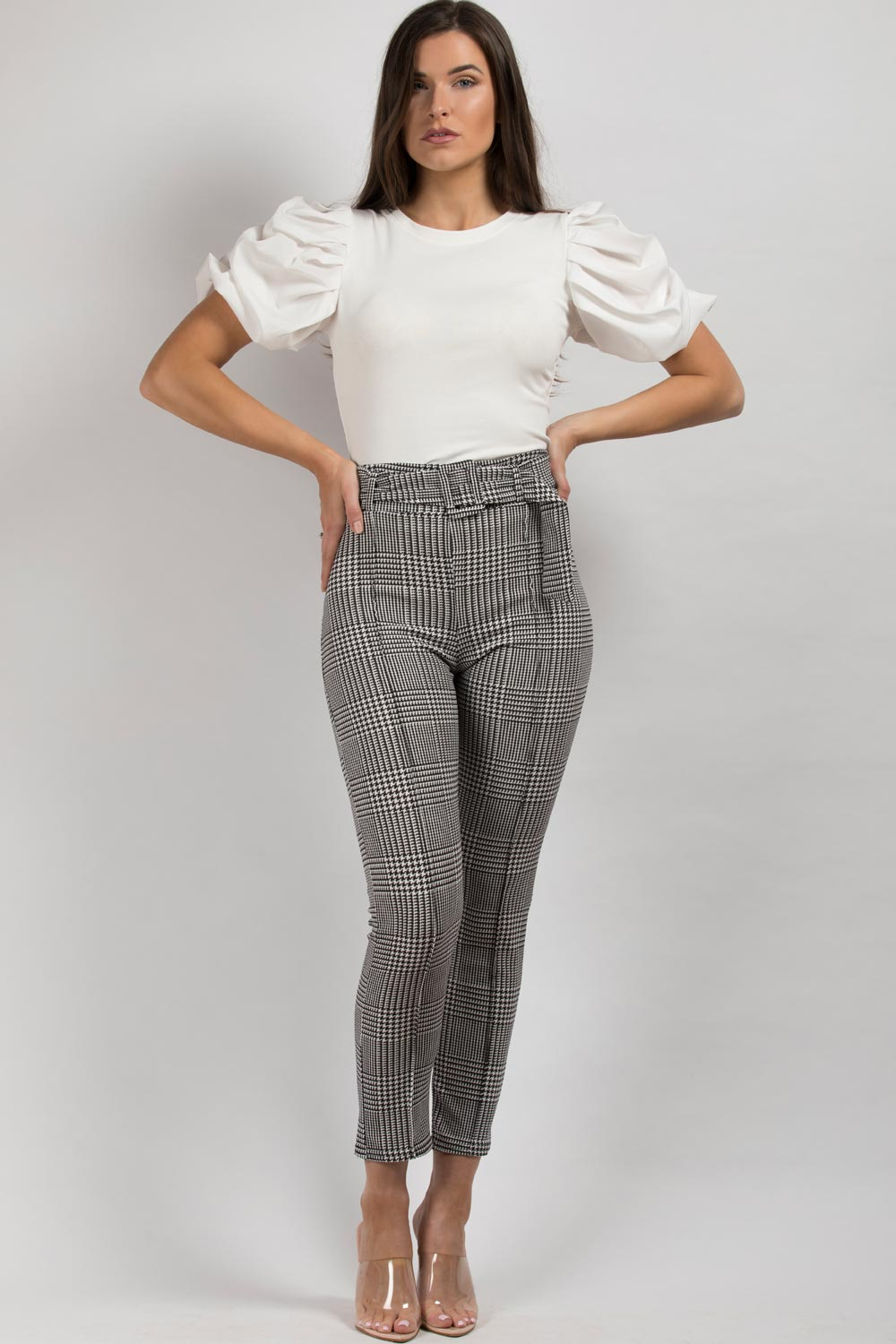 black white belted trousers womens