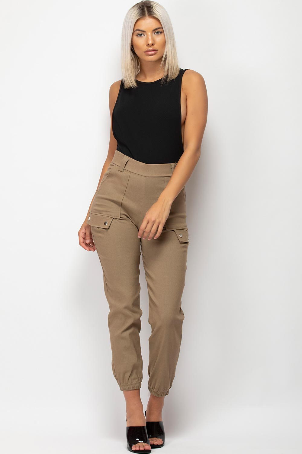 womens high waisted utility trousers