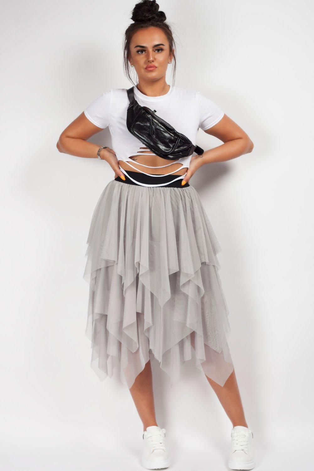 grey tulle skirt styledup fashion