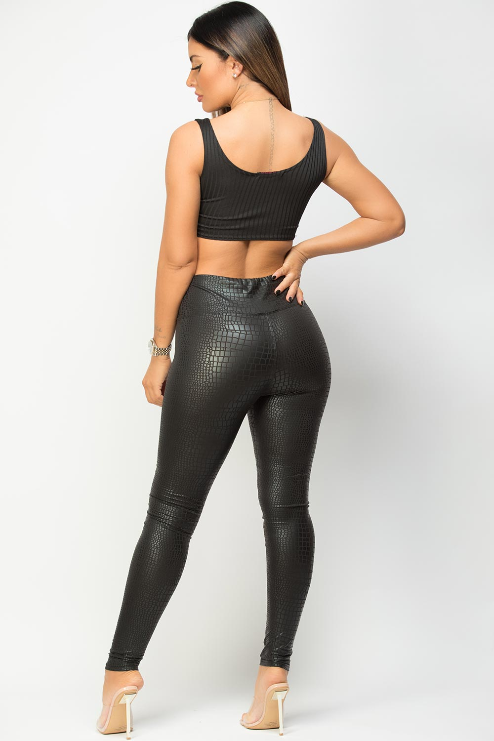 black high waisted faux leather croc leggings