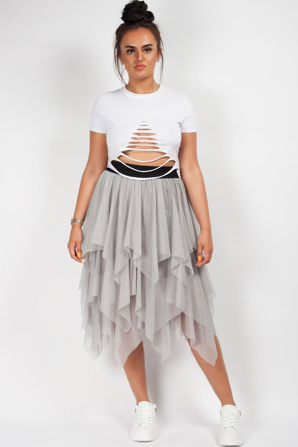 grey long tulle skirt styledup fashion