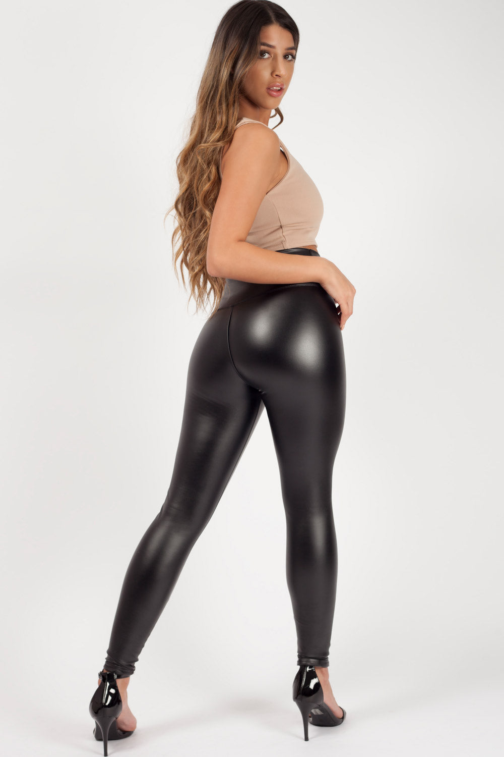 Black High Waist Leather look Leggings
