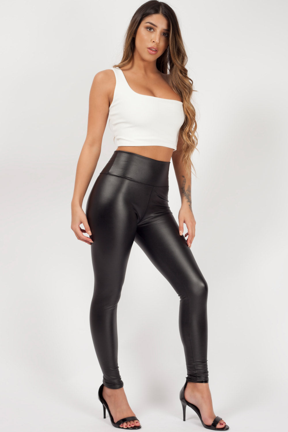 leather look leggings black styledup fashion
