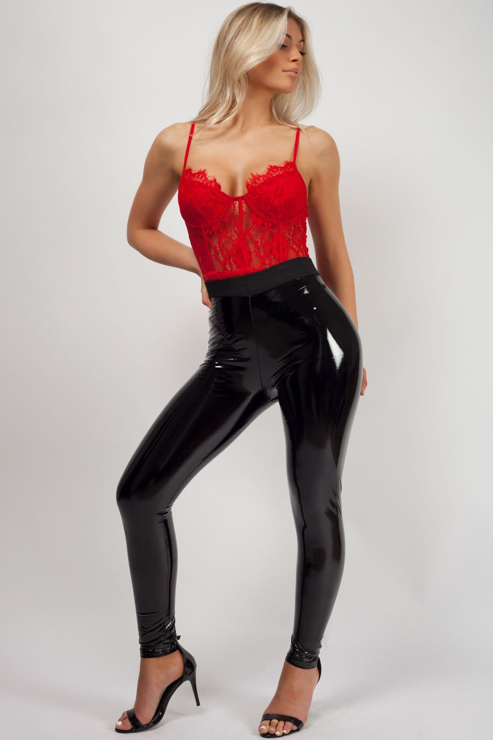black vinyl trousers uk womens