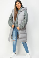 grey hooded puffer gilet womens