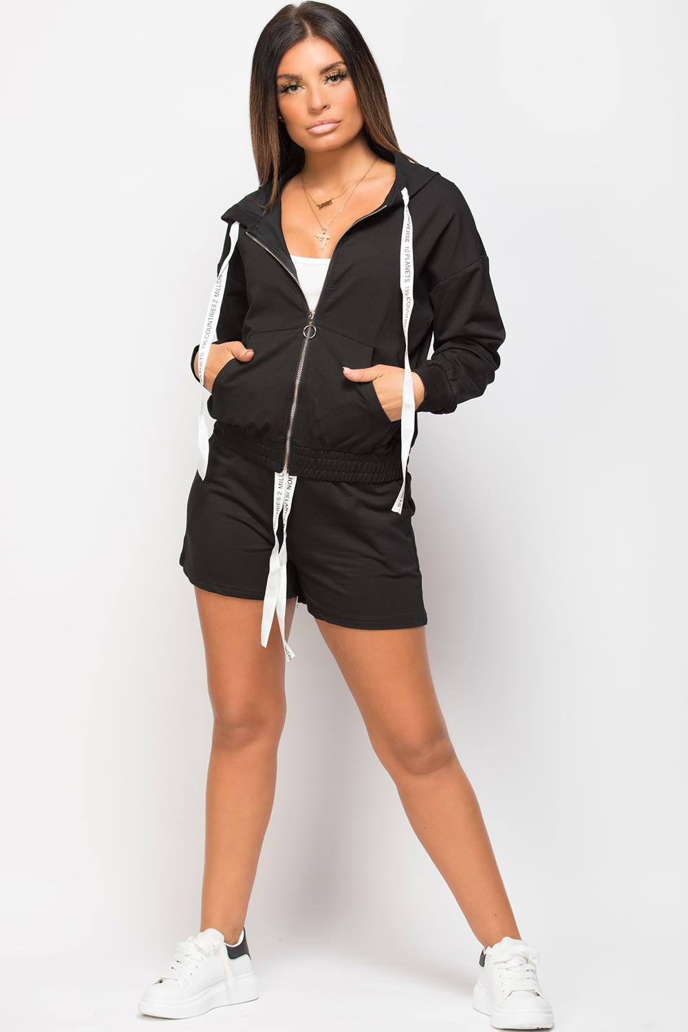 hoodie top and shorts set black