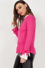 jumper with bows on sleeves pink