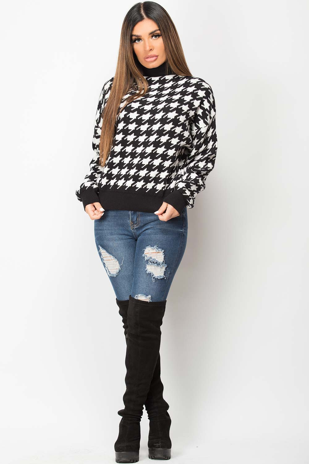 knitted long sleeve jumper dogtooth