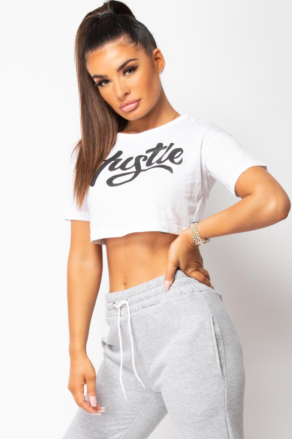 White Hustle Slogan Crop Top