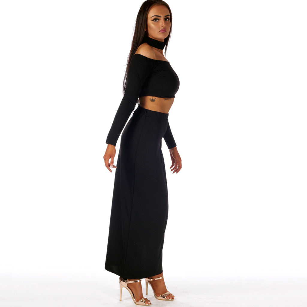 Jenna Choker Top And Skirt Set Black Styledup
