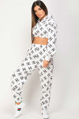 white joggers and crop hoodie loungewear set