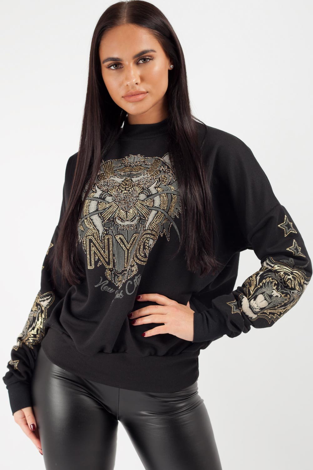 Kenzo Inspired Long Sleeve Sweatshirt Black