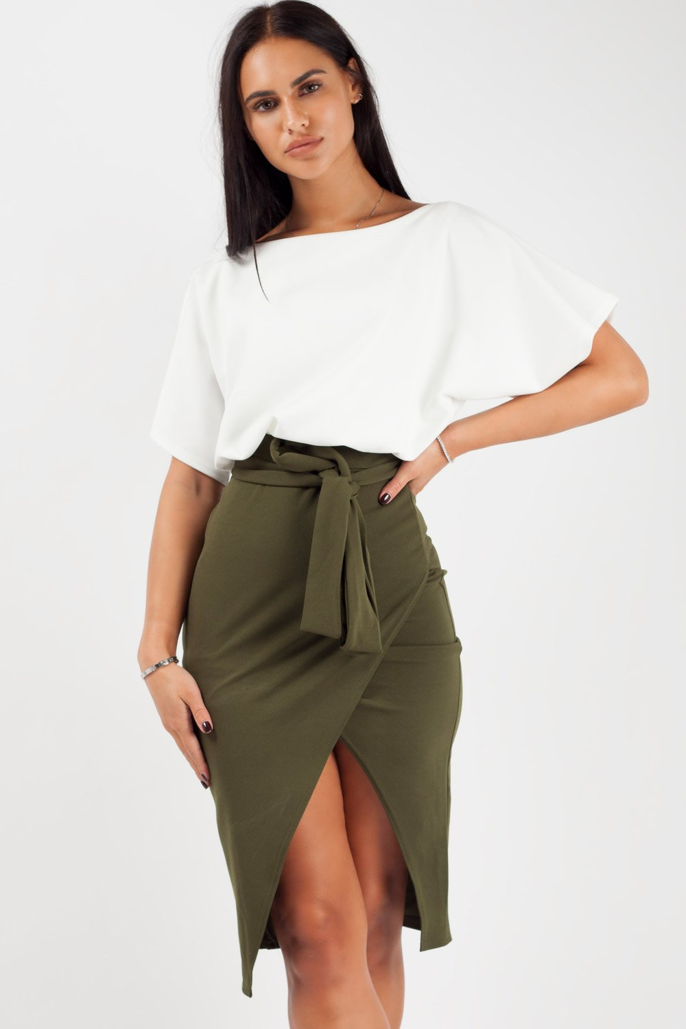 warp midi dress khaki contrast