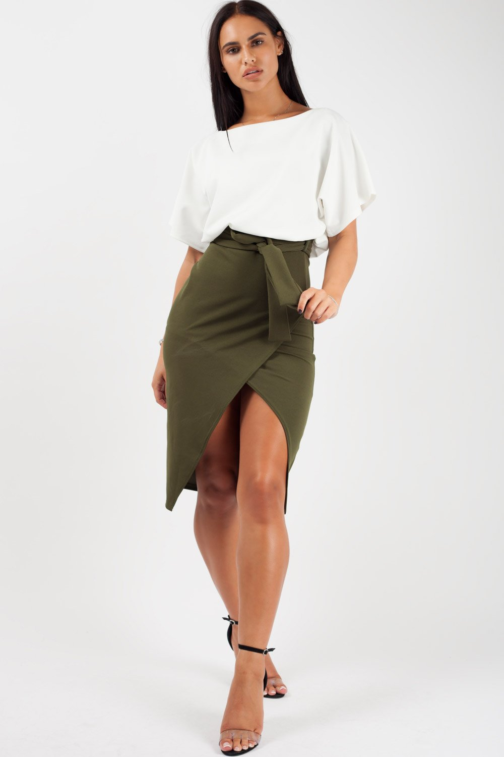 belted warp midi dress khaki