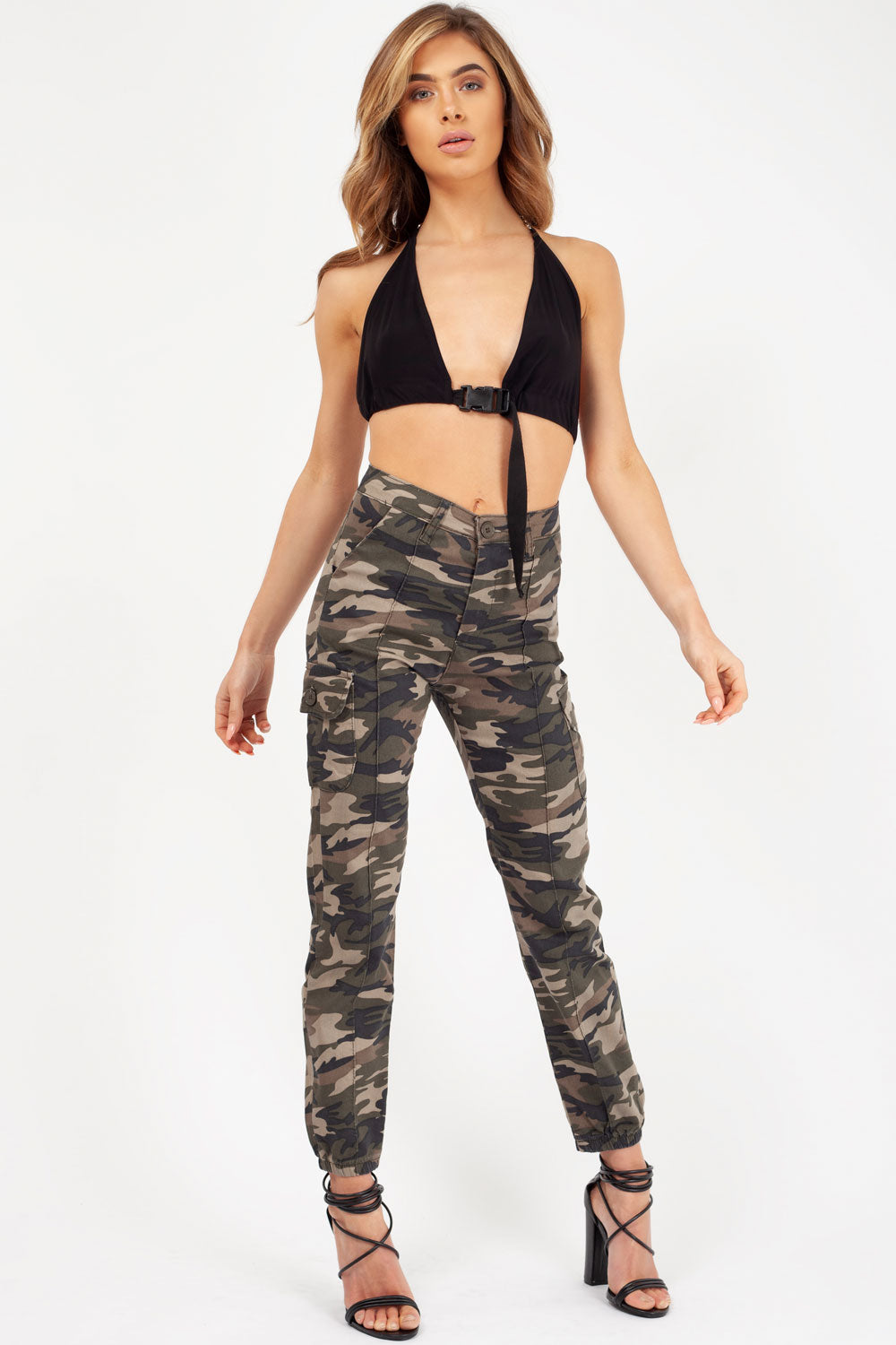 womens camo cargo utility trousers