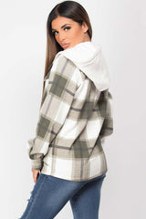 womens hooded shacket khaki check