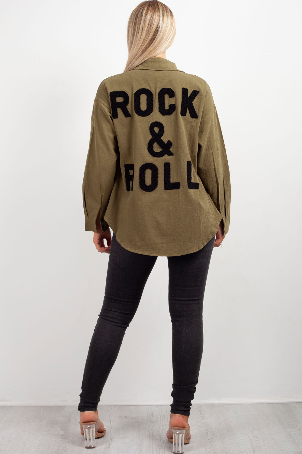 rock & roll slogan khaki oversized shirt