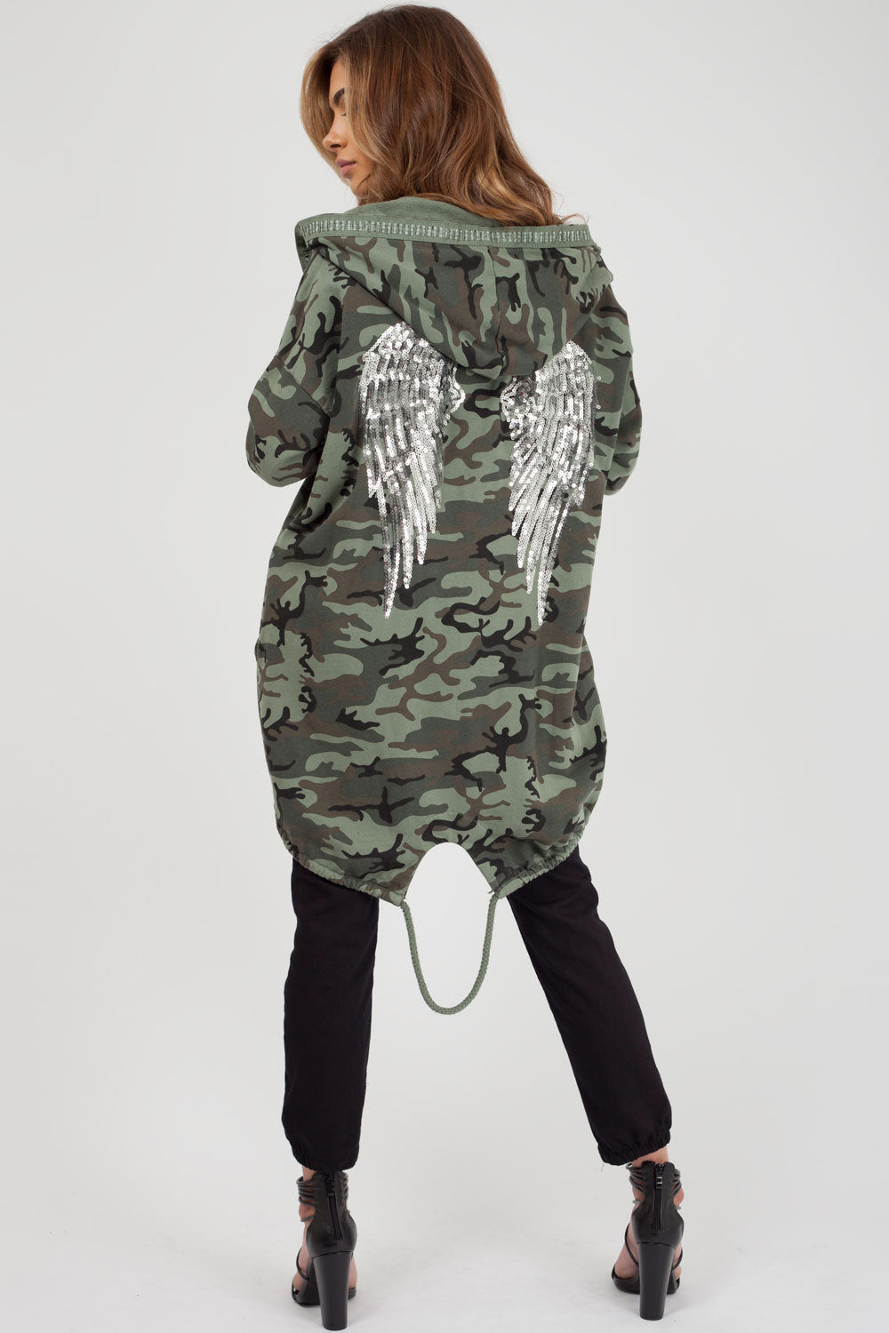 camouflage sequin wings detail hoodie womens styledup fashion