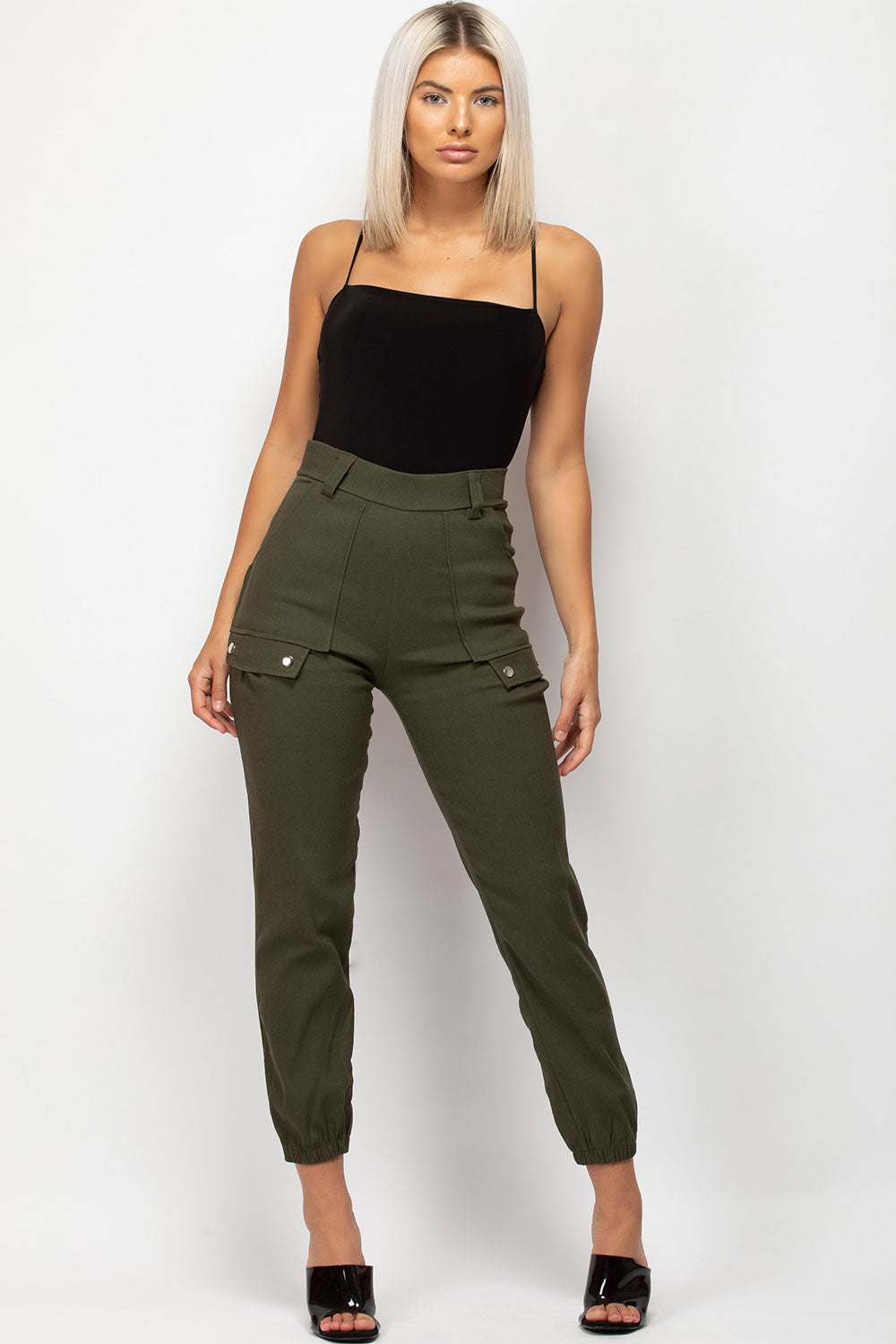 khaki cargo slim fit trousers uk