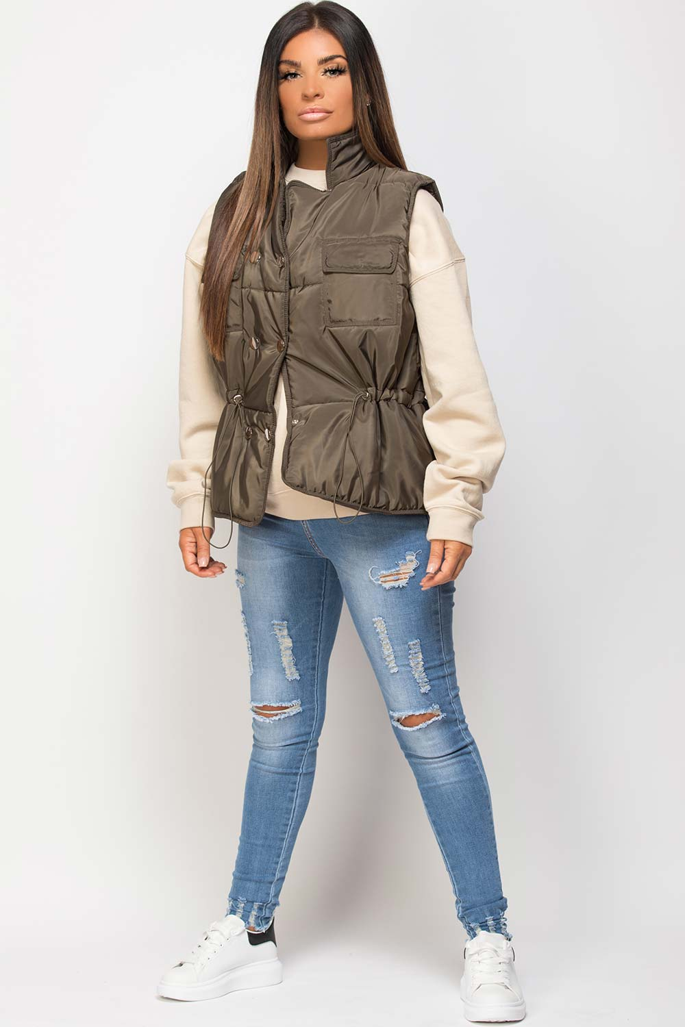 padded puffer gilet with drawstring waist