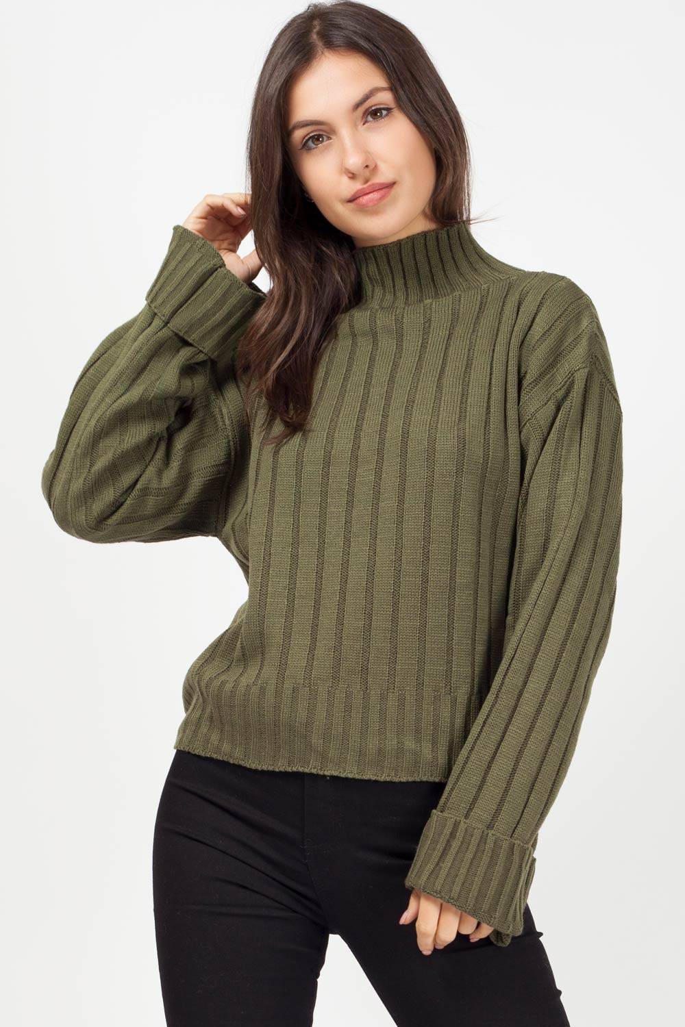 khaki high neck jumper womens