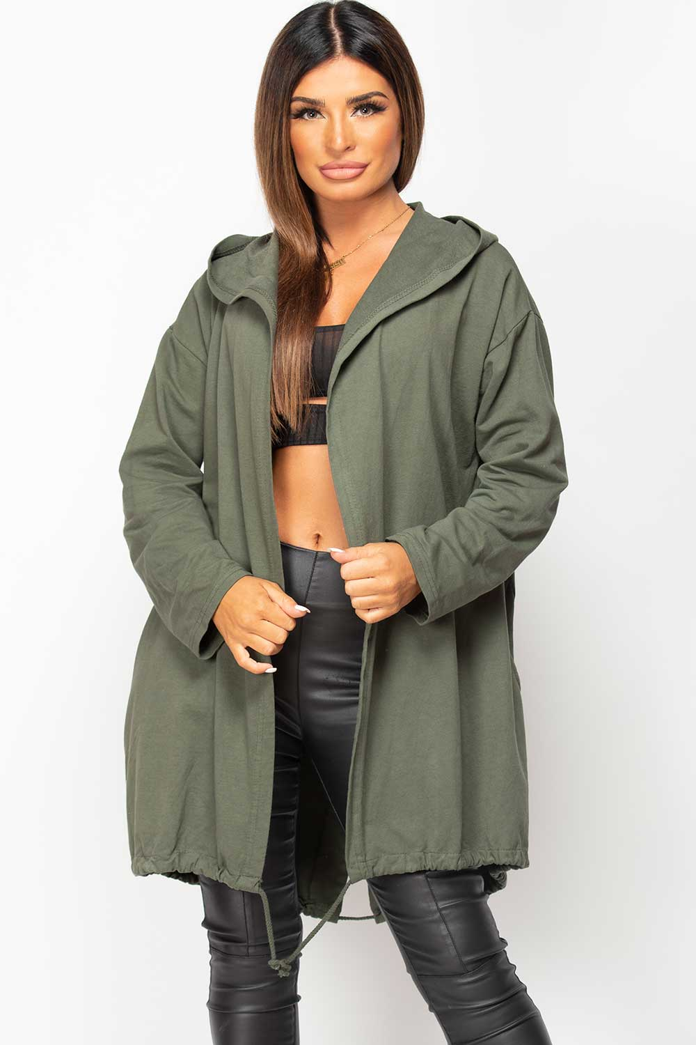 khaki oversized cardigan womens