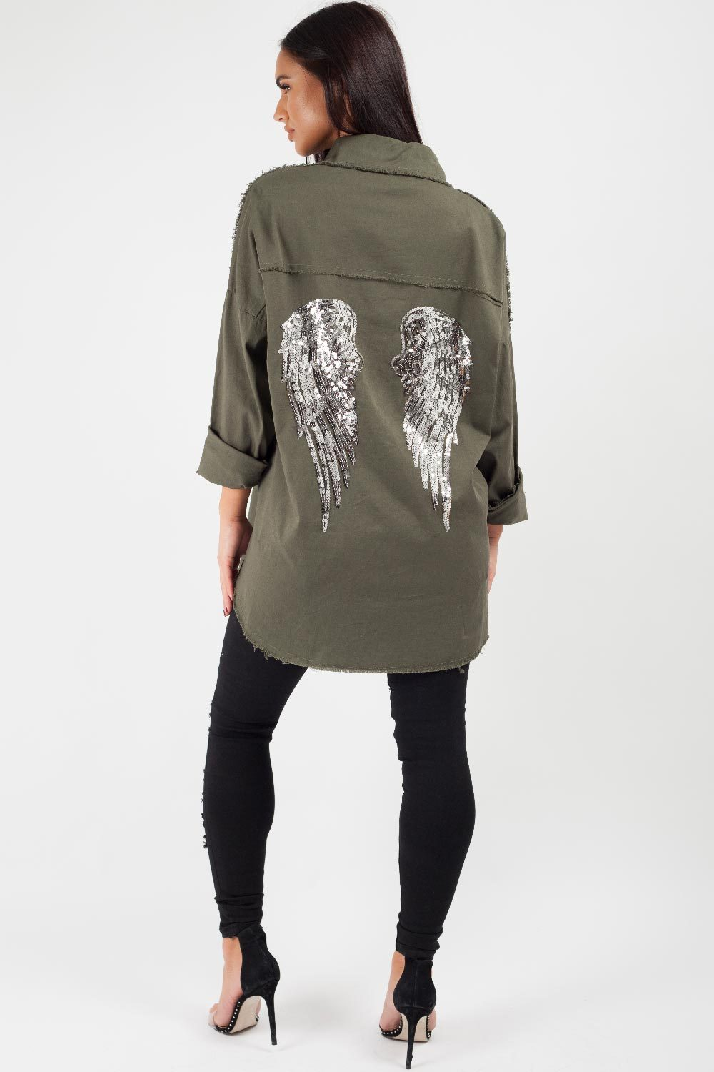 oversized denim shirt khaki sequin wings