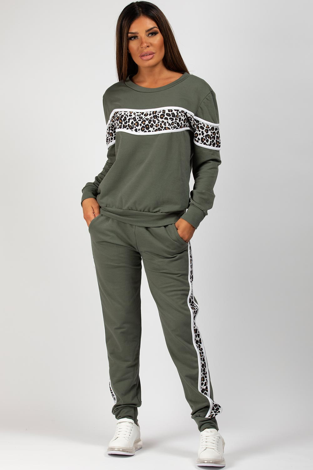 Loungewear Set With Leopard Panel Detail