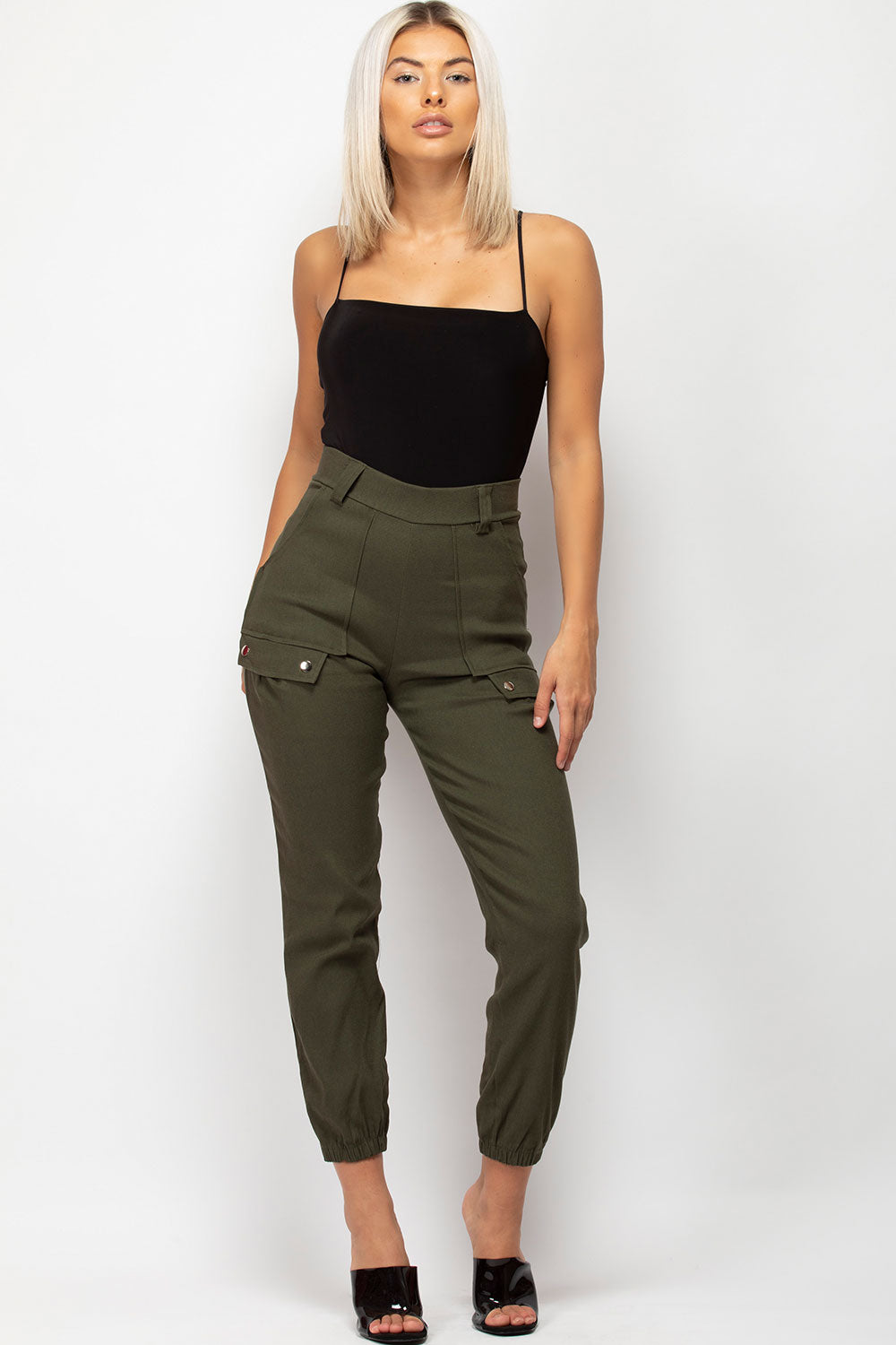 womens khaki high waisted cargo trousers