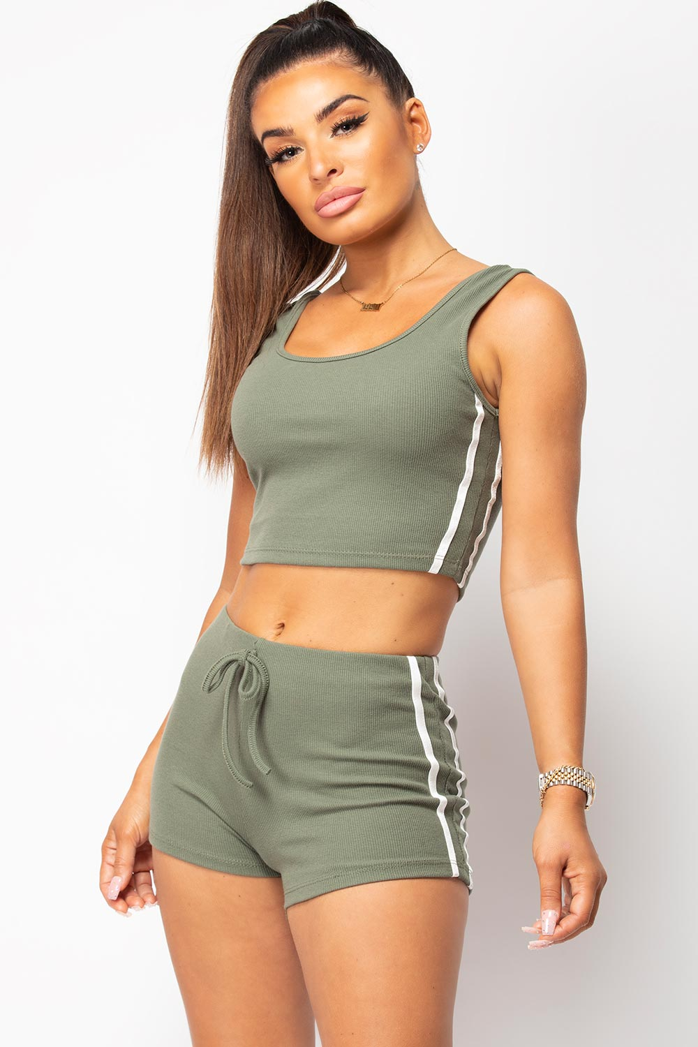 womens crop top and runner shorts two piece lounge set