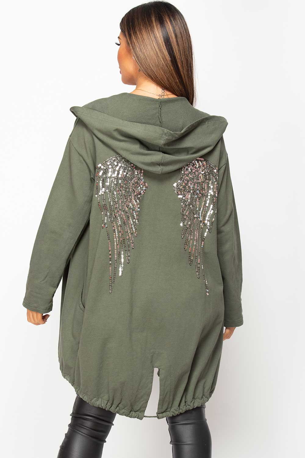 sequin wings khaki oversized hoodie