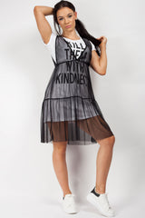 kill them with kindness mesh layer t shirt dress