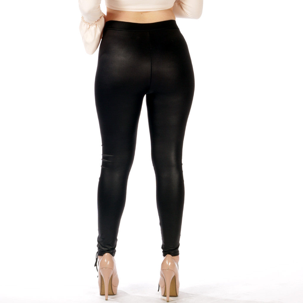Kimmy Lace Up Wet Look PU Leggings Styledup