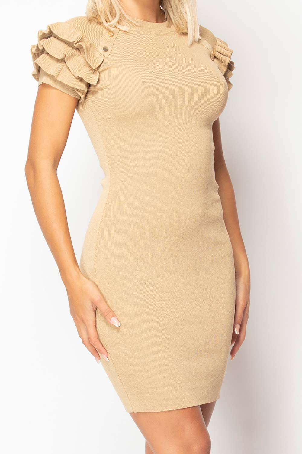 stone frill detail ribbed bodycon dress