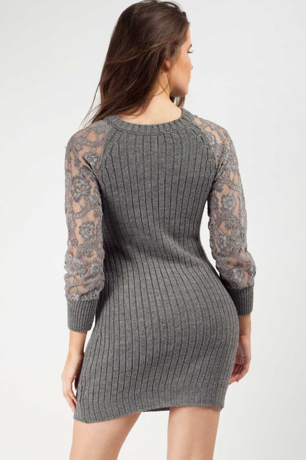 lace arm knitted jumper dress