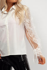 white lace long sleeve shirt