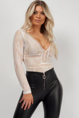 lace bodysuit white styledup fashion