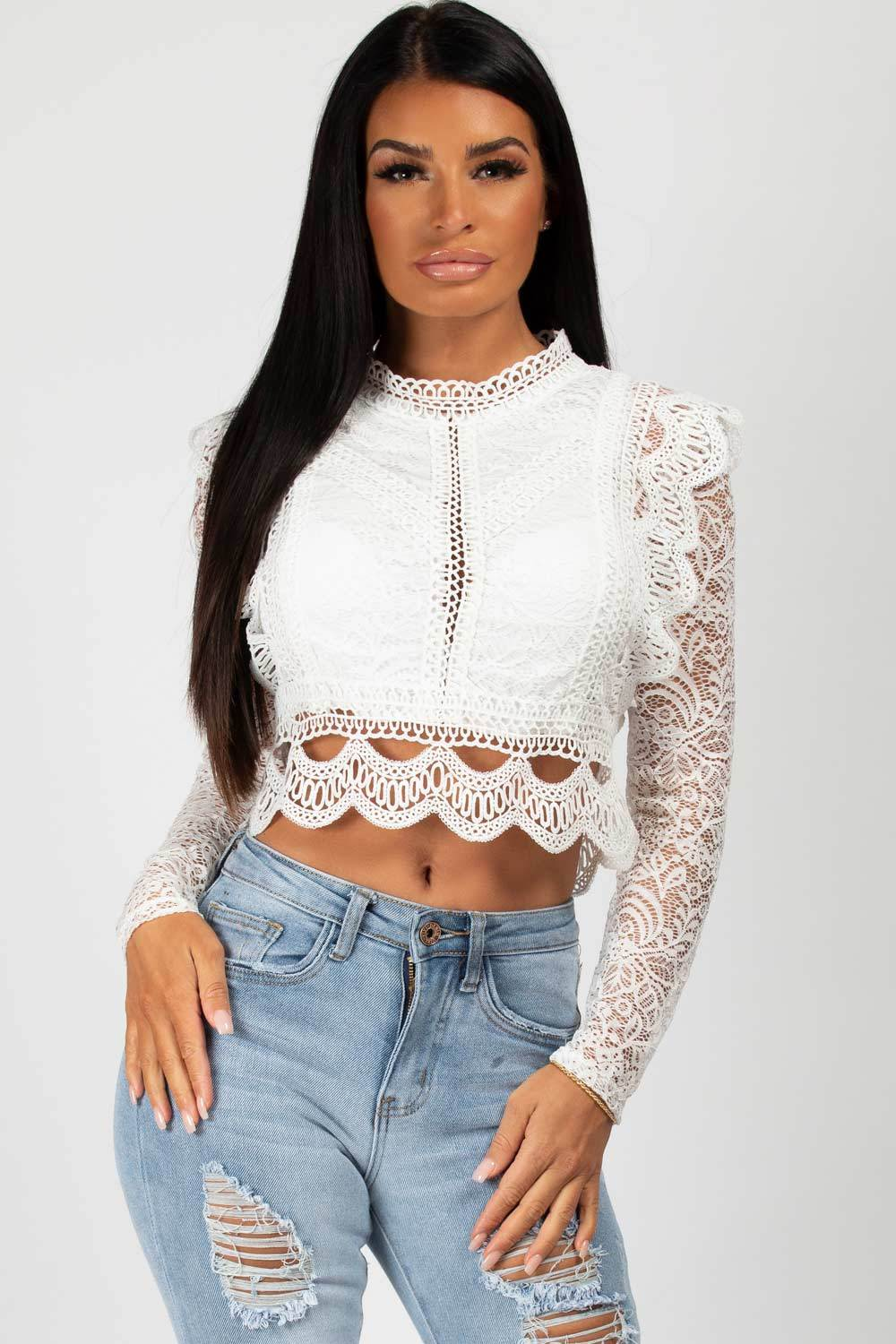 white long sleeve lace crop top