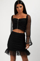 lace crop top and skirt set black