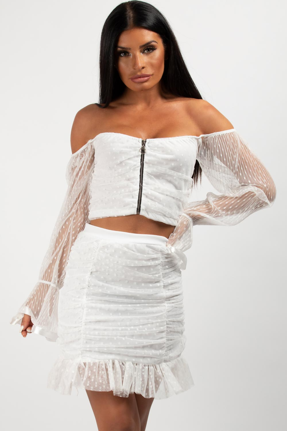 two piece skirt and top set white