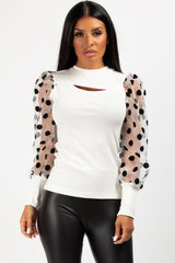 polkadot puff sleeve top