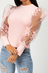 pink floral sheer lace sleeve top
