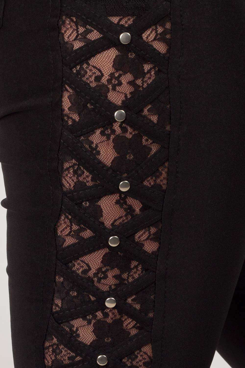 lace side skinny trousers