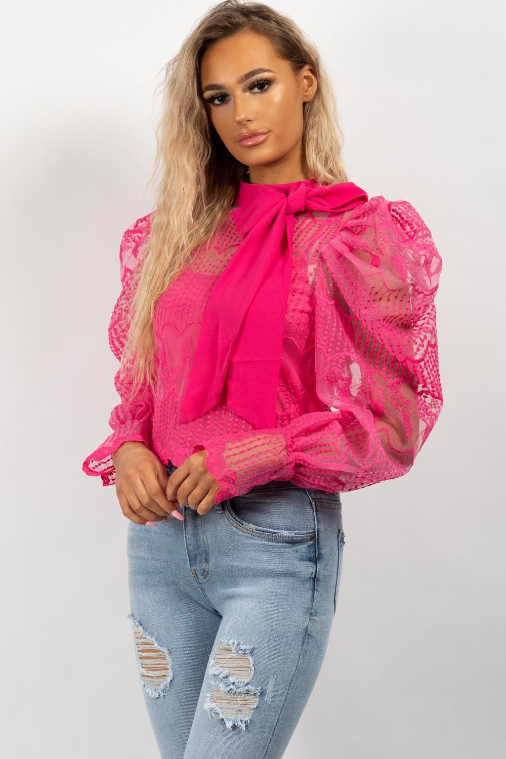 pink puff sleeve lace top