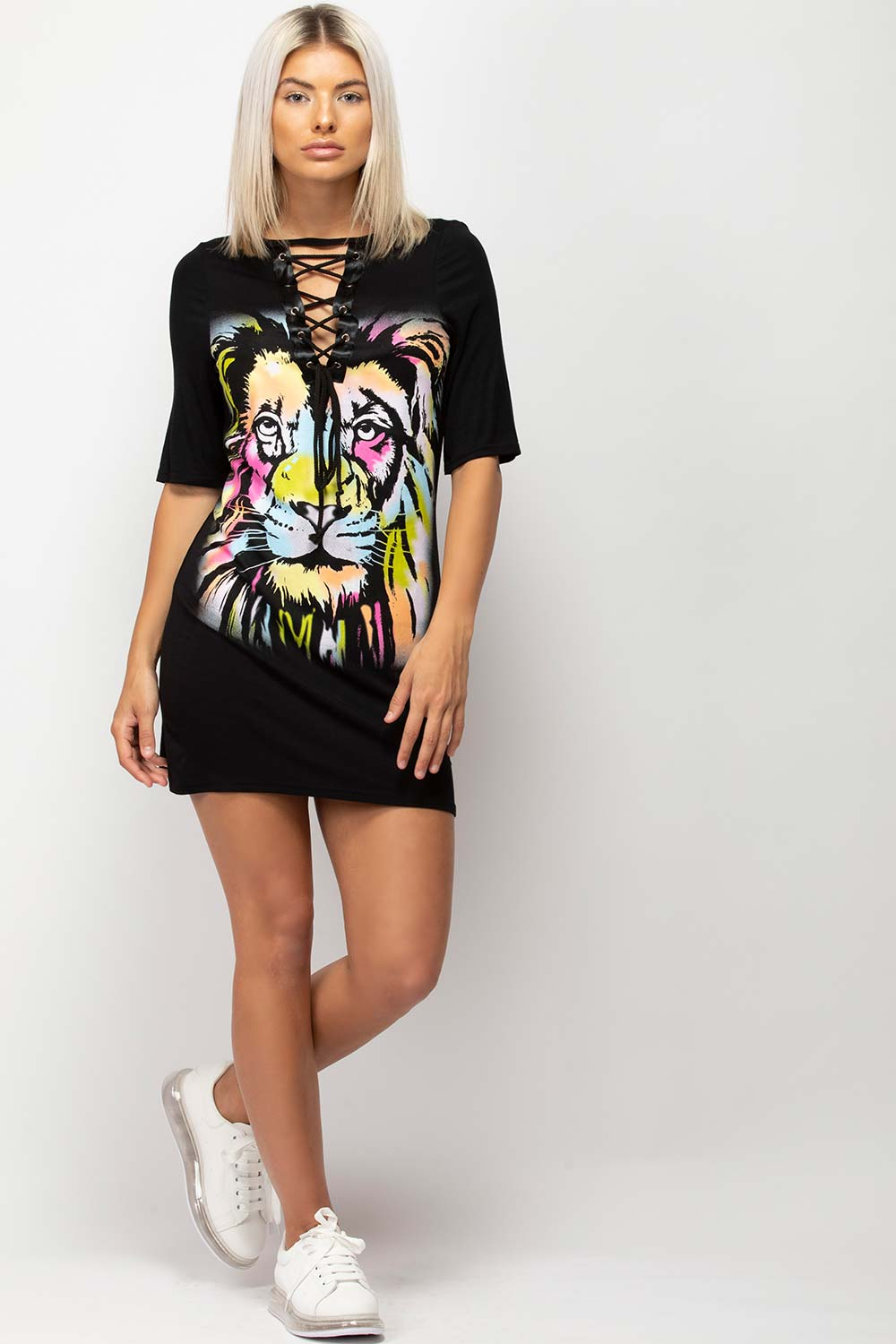 lace up front tiger print t shirt dress