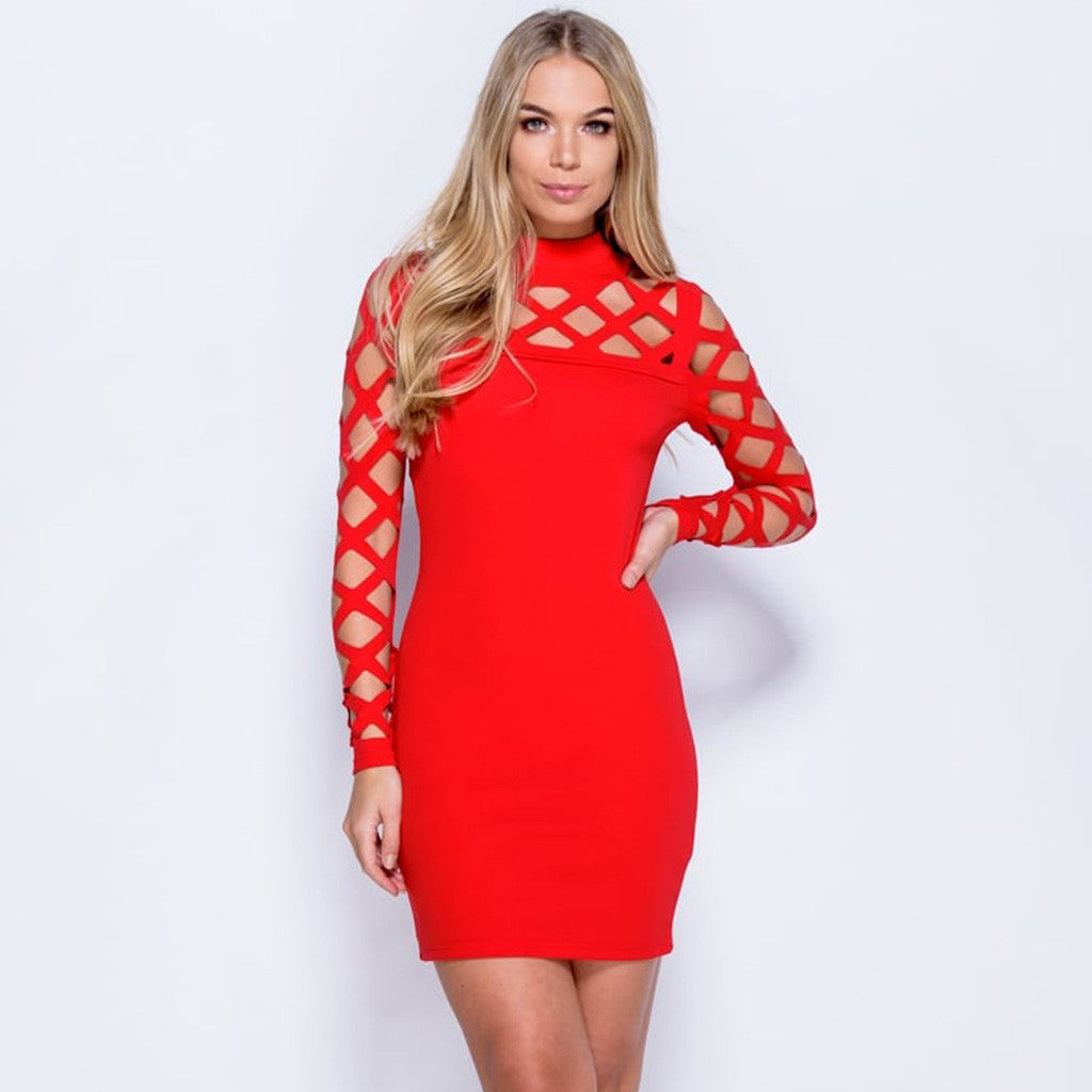 Laser Cutout Long Sleeve Bandage Bodycon Dress Styledup red