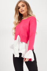 2 in 1 shirt jumper womens pink