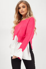 layered look jumper shirt pink