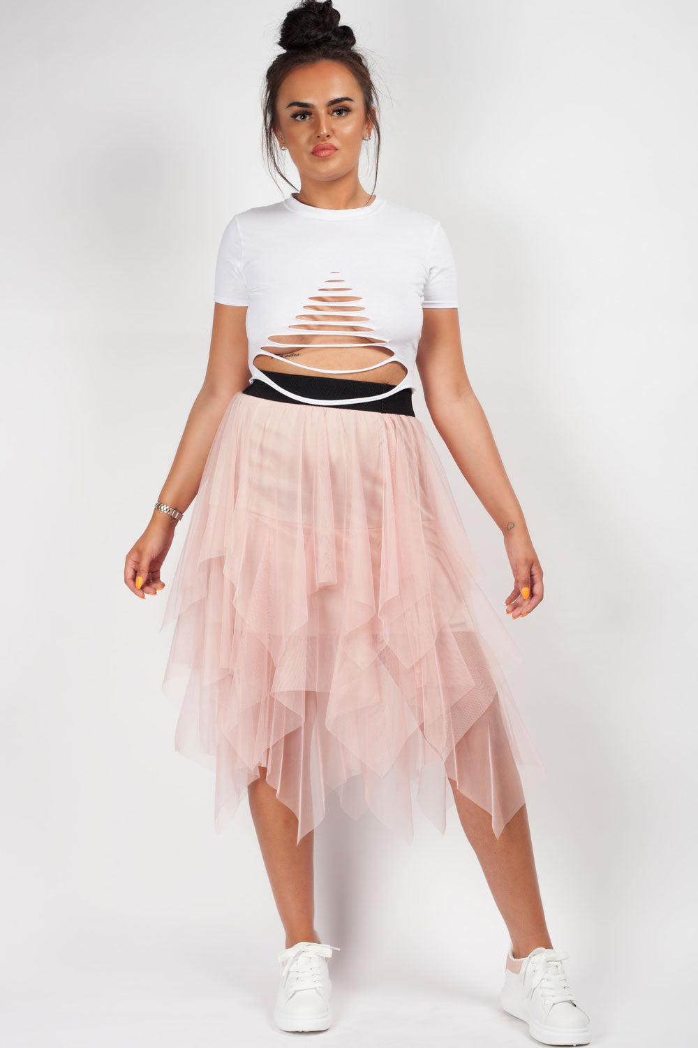 tulle high waisted midi skirt pink